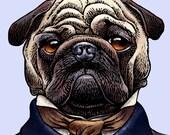 """Edgar Allan Pug 8"""" x 10"""" Whimsical Pug Art Print- Edgar Allan Poe as a Pug Dog- Pug Wall Decor"""