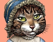 "Jane Pawsten- 8"" x 10"" Art Print Portrait of Jane Austen as a Cat- Whimsical Tabby Cat Art"