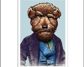 """Snarls Dickens- 8"""" x 10"""" Portrait of Charles Dickens as a Terrier Dog"""