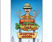 Bubba's Big Fish Tale- Googie Sign Print