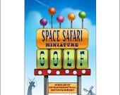 Space Safari Miniature Golf- Googie Sign Print