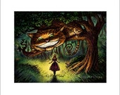 "Alice- 8"" x 10"" Alice in Wonderland and Cheshire Cat Art Print"