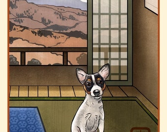 Toy Fox Terrier Japanese Styled Print