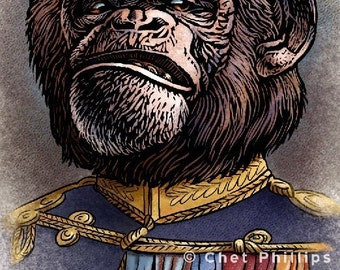 "Prince Bruno Von Sniffenfinger- 8"" x 10"" Monkey General Portrait- Monkey Wall Decor"