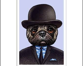 René Pugritte- Portrait of Artist René Magritte as Pug Dog