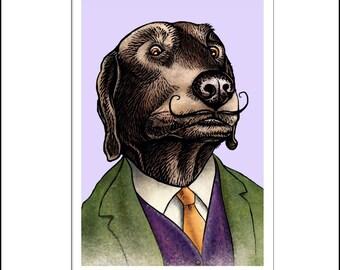 Labrador Dali signed print