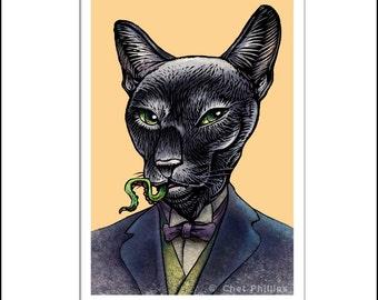 """H.P. Lovecat- 8"""" x 10"""" Portrait of H.P. Lovecraft as a Black Cat"""