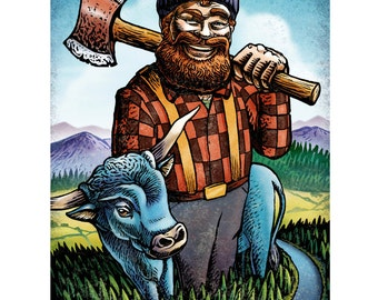 "Paul Bunyan and Babe- 8"" x 10"" Art Print"