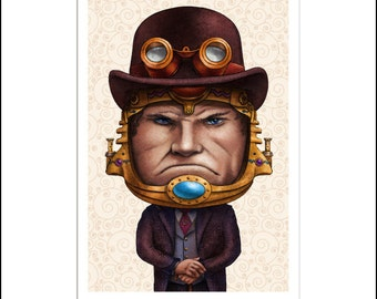 "SCORN- Metallic Print- 8"" x 10"" Steampunk Version of MODOK"