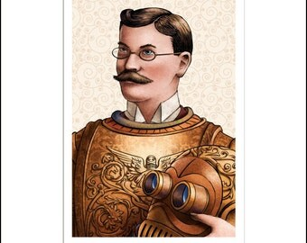 "Flatiron Knight- Metallic Print- 8"" x 10"" Steampunk Iron Man Character"