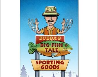 Bubba's Big Fish Tale- Googie Sign Print