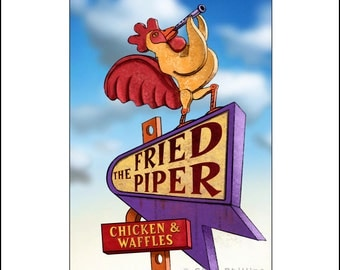 Fried Piper- Googie Sign Print