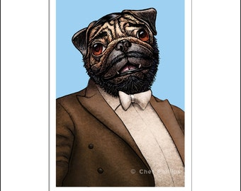 "Luciano Pugarotti 8"" x 10"" Pug Dog as Singer Luciano Pavarotti- Whimsical Dog Art Wall Decor"
