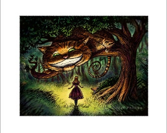 "Alice- 8"" x 10"" Alice in Wonderland and Cheshire Cat Art Print"