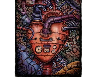 "Horsepower Heart- 8"" x 10"" Surreal Steampunk Heart"