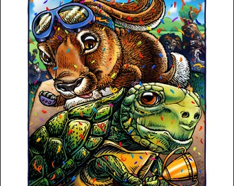 The Hare and the Tortoise signed print