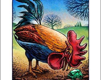 """The Rooster and the Jewel- 8"""" x 10"""" Rooster Art Print- Rooster Wall Decor"""