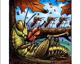 """The Grasshopper and the Ants 8"""" x 10"""" Whimsical Art Print- Aesop Fable Wall Decor"""