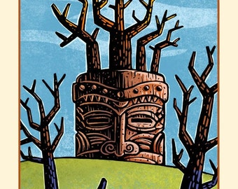 "Rooted- Matted 8"" x 10"" Tiki Wall Decor"