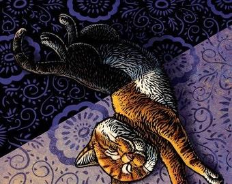 """Sunday- 8"""" x 10""""- Cat Art Print- Cat Wall Decor- Cat Wall Art- Cat Print- Cat Gift"""