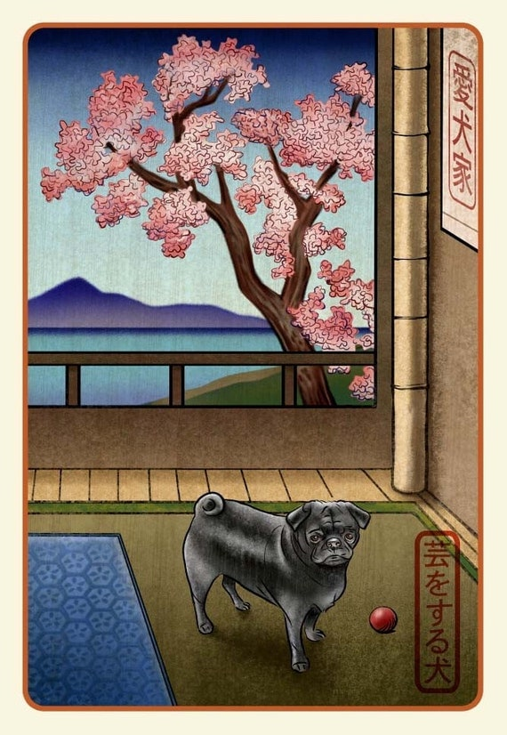 Black Pug-Japanese Styled signed print