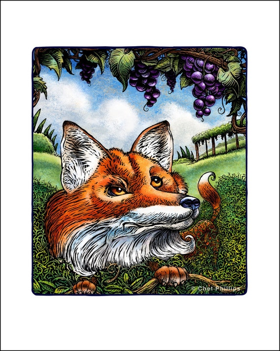 The Fox and the Grapes signed print
