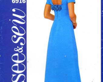 Butterick 6916 Dress Prom Evening Bridal Long Maxi Size 12 14 16 Uncut Sewing Pattern 2000