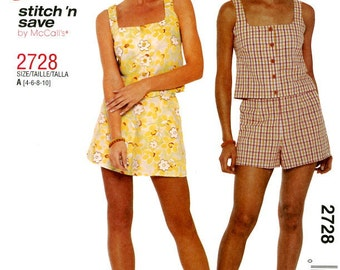 McCall's 2728 Easy Sleeveless Top and Short Size 4 6 8 10 UNCUT Sewing Pattern 2000