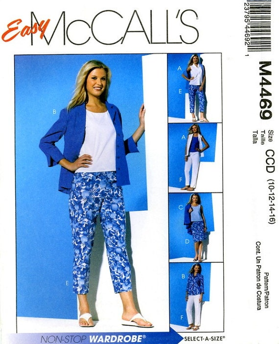 McCalls M4469 Easy Shirts, Blouse, Top Skirt, Pants and Capri, Size 10 12 14 16 Uncut Sewing Pattern 2004