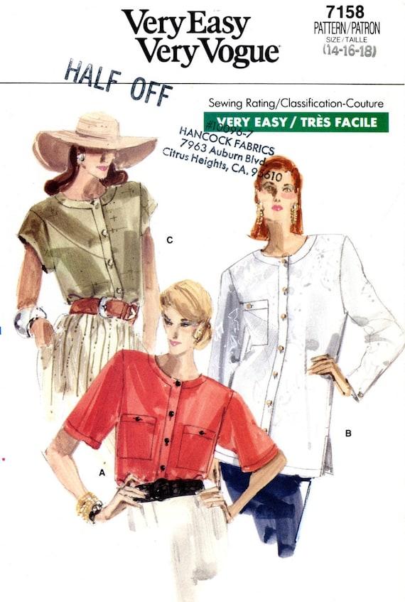 Vogue 7158 Easy Blouses Tops Size 14 16 18 Uncut Vintage Sewing Pattern 1988