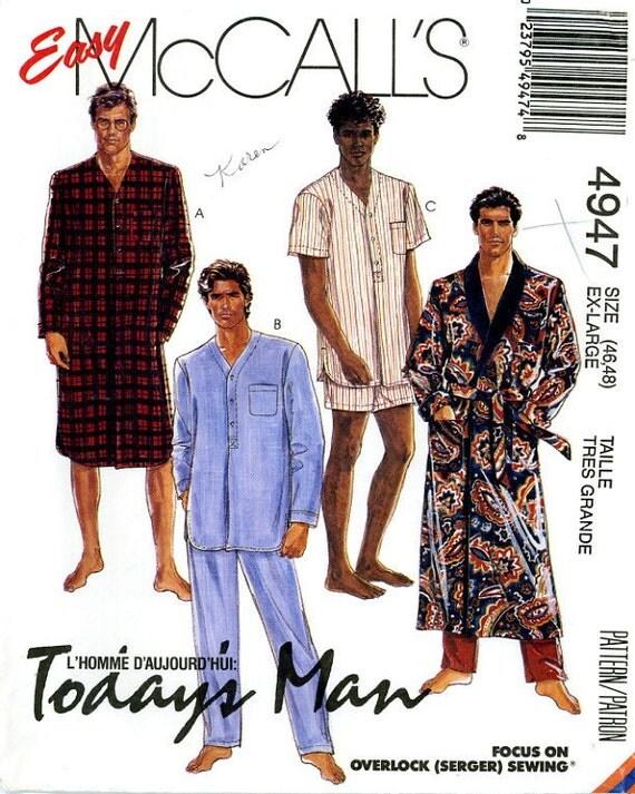 McCalls 4947 Mens Easy Robe Nightshirt and Pajamas Size 46 48 UNCUT Vintage Sewing Pattern 1986