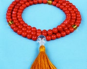 Small Coral Pocket Mala with Amber, Quartz, and Gold Silk Tassel - Bamboo Coral Prayer Beads
