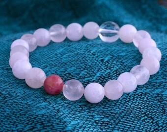 Rose Quartz Wrist Mala Bracelet w Rhodonite & Quartz - Pink Stone Yoga Mala Bead Bracelet