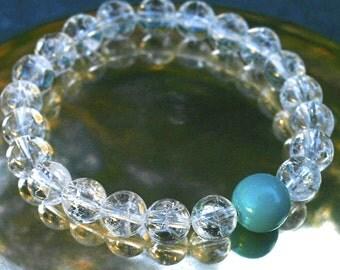 Quartz Wrist Mala Bracelet w Turquoise Howlite - Yoga Mala Wrist Prayer Beads