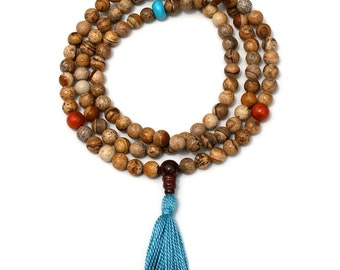 Picture Jasper Mala Prayer Beads w  Howlite and Coral 108 Bead Mala Necklace - Grounding & Nurturing