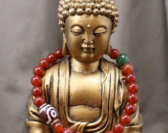 Large Carnelian Wrist Mala Bracelet 27 Bead with Moss Agate & Tibetan Agate - Men's Wrist Mala