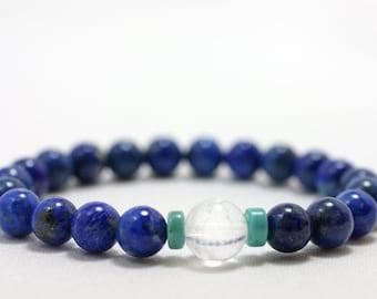 Lapis Lazuli Wrist Mala Bracelet with Turquoise Howlite & Quartz - Yoga and Meditation Mala Prayer Beads