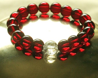 Red Wrist Mala Bracelet - Ruby Red Czech Glass and Quartz Crystal Yoga Bracelet
