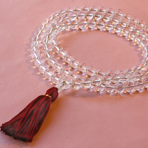 Grade A Quartz Mala Prayer Bead Necklace with Carved Quartz Marker & Maroon Silk - Clarity Mala