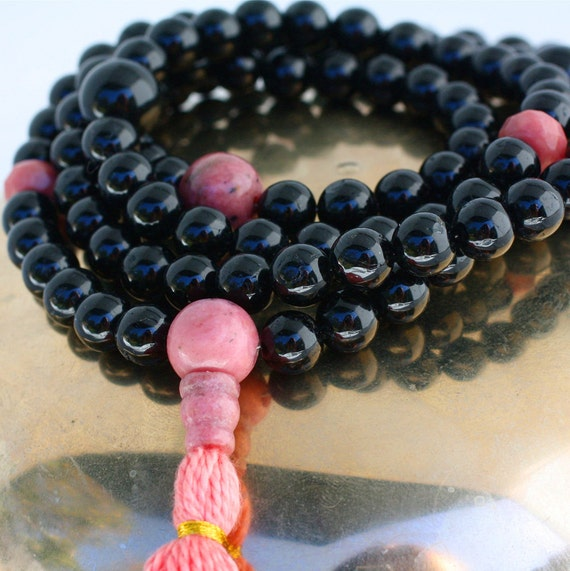 Black Obsidian Mala Prayer Beads with Rhodonite - Love and Protection Meditation Necklace - Yoga Jewelry