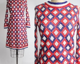 Laura Aponte Knit dress | Vintage Mod Sequin Mini Dress | 1960s Geometric A-line Dress | Italian Mod Sweater Dress | xs