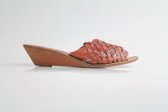 sz 10 vintage Sienna Lattice Leather Sandals / 42