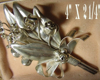 Large Hobe Sterling Silver Brooch Pin - Signed Floral Cluster with Original Box - Vintage 40s