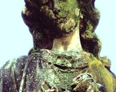 Treasury Item, 5x7 Green Cemetery Angel, Statue, fine art photograph