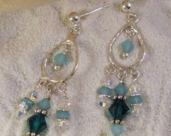 Aqua Crystal Sterling Silver Chandelier Earrings