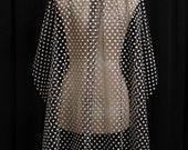 Black and White Polka Dot Wedding Veil With Jet Crystals