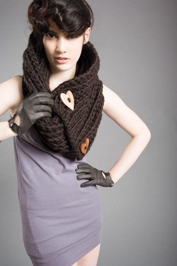 SAMPLE SALE - Spratters and Jayne Chunky 2-Button Heart Cowl, neckwarmer, crochet, wrap, knit- Ready to Ship