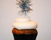 Cupcake Tinsel Toppers -12 Silver