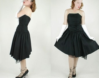 80s Vintage Black Strapless Asymmetrical Party Dress S