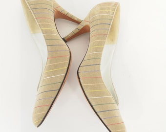 Vintage Rainbow Pinstripe Beige High Heeled Pumps US Size 7.5N